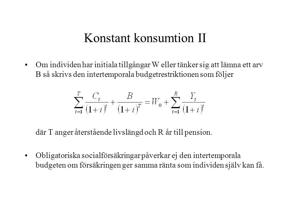 Konstant konsumtion II •Om individen har initiala tillgångar W eller tänker sig att lämna ett arv B så skrivs den intertemporala budgetrestriktionen s