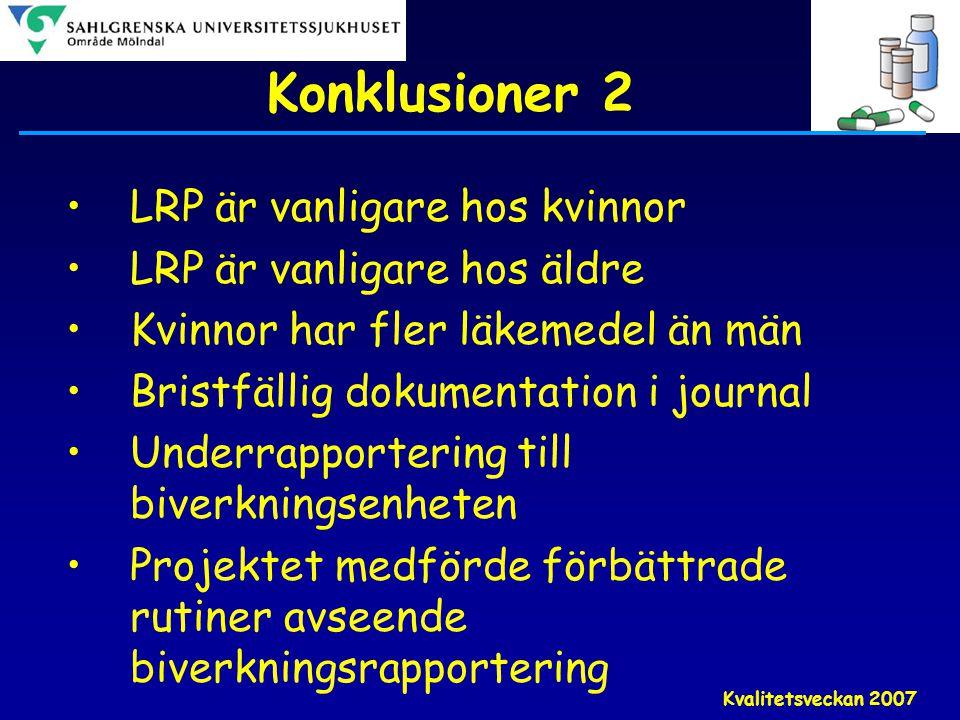 Kvalitetsveckan 2007 Konklusioner 2 •LRP är vanligare hos kvinnor •LRP är vanligare hos äldre •Kvinnor har fler läkemedel än män •Bristfällig dokument