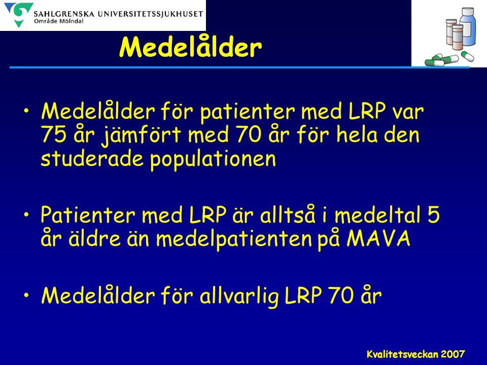Kvalitetsveckan 2007 Medelålder •Medelålder för patienter med LRP var 75 år jämfört med 70 år för hela den studerade populationen •Patienter med LRP ä