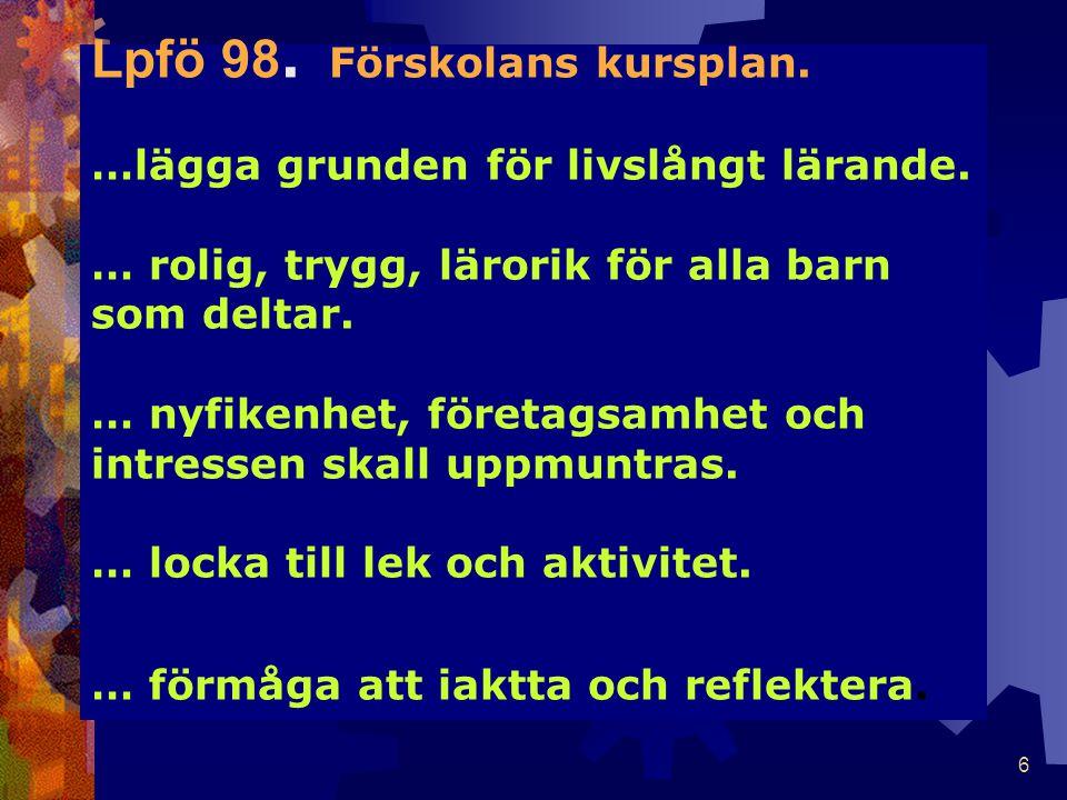 6 Lpfö 98. Förskolans kursplan. …lägga grunden för livslångt lärande.