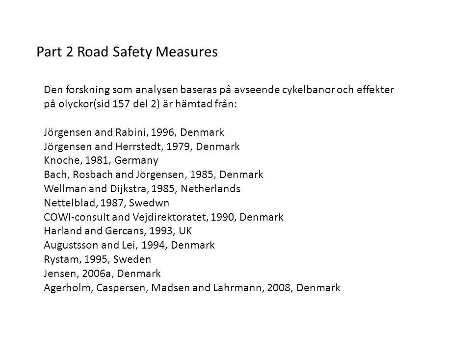 Den forskning som analysen baseras på avseende cykelbanor och effekter på olyckor(sid 157 del 2) är hämtad från: Jörgensen and Rabini, 1996, Denmark J