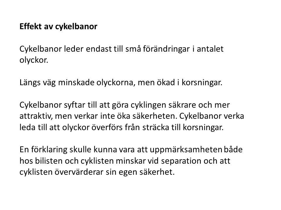 Effekt av cykelbanor Cykelbanor leder endast till små förändringar i antalet olyckor. Längs väg minskade olyckorna, men ökad i korsningar. Cykelbanor