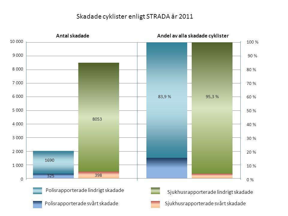 Skadade cyklister enligt STRADA år 2011 10 000 9 000 8 000 7 000 6 000 5 000 4 000 3 000 2 000 1 000 0 Polisrapporterade svårt skadadeSjukhusrapporter