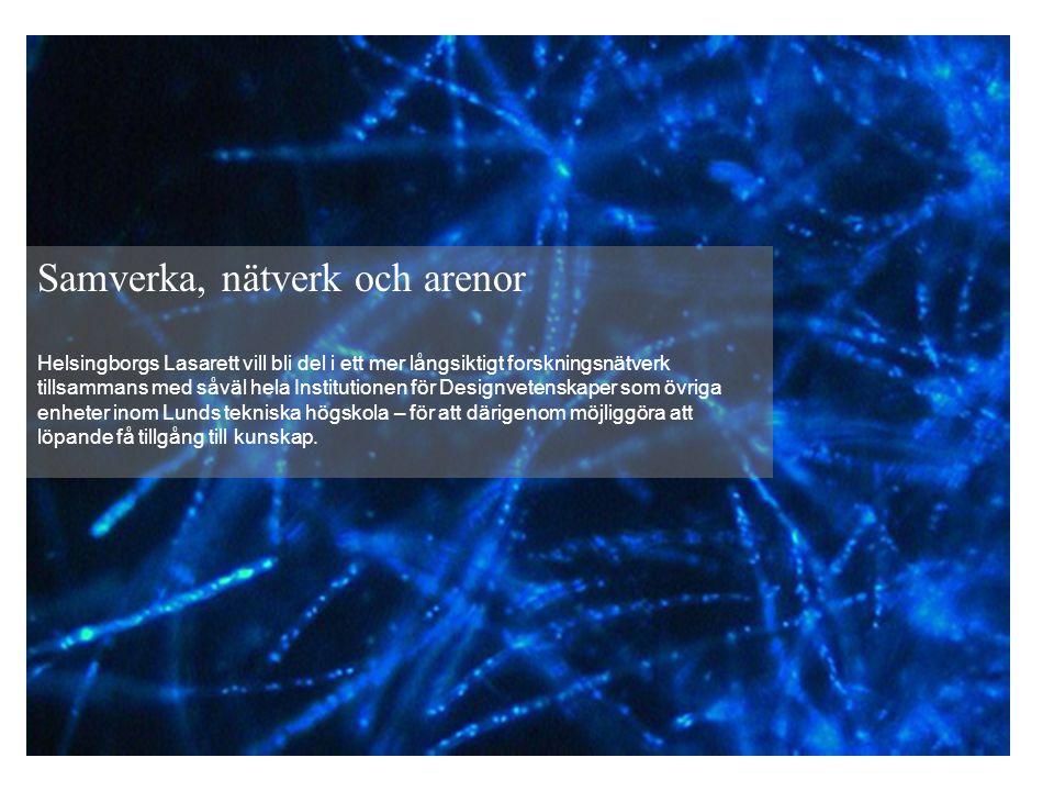 Samverka, nätverk och arenor Helsingborgs Lasarett vill bli del i ett mer långsiktigt forskningsnätverk tillsammans med såväl hela Institutionen för Designvetenskaper som övriga enheter inom Lunds tekniska högskola – för att därigenom möjliggöra att löpande få tillgång till kunskap.