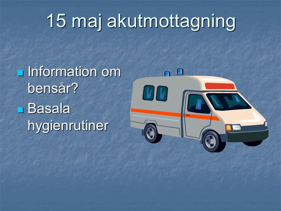 15 maj akutmottagning  Information om bensår?  Basala hygienrutiner