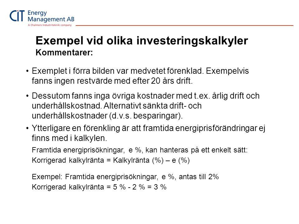 Exempel vid olika investeringskalkyler Kommentarer: •Exemplet i förra bilden var medvetet förenklad. Exempelvis fanns ingen restvärde med efter 20 års