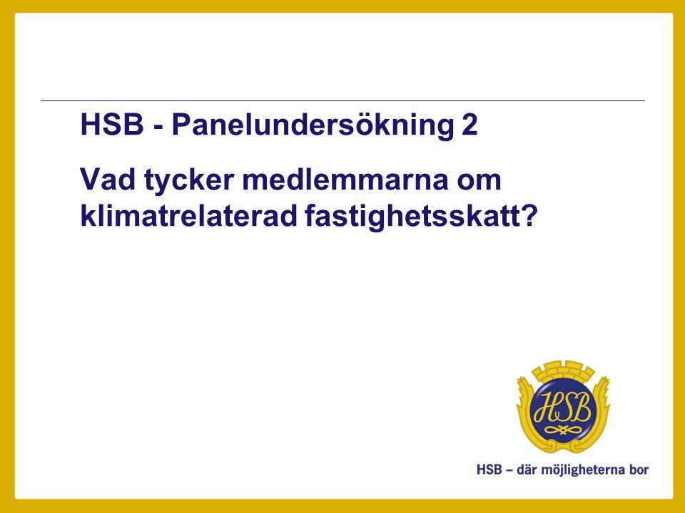 HSB - Panelundersökning 2 Vad tycker medlemmarna om klimatrelaterad fastighetsskatt?
