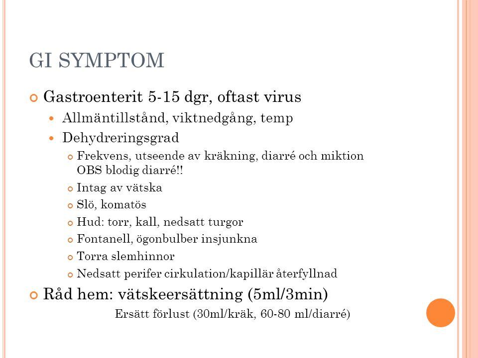 GI SYMPTOM Gastroenterit 5-15 dgr, oftast virus  Allmäntillstånd, viktnedgång, temp  Dehydreringsgrad Frekvens, utseende av kräkning, diarré och mik