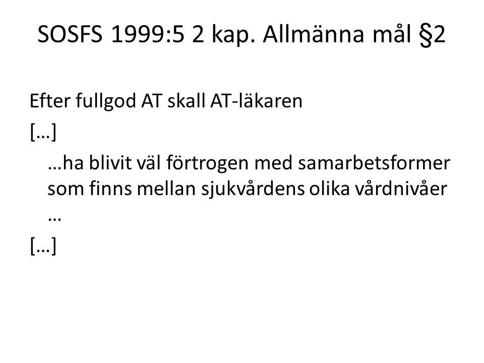 SOSFS 1999:5 2 kap. Allmänna mål §2 Efter fullgod AT skall AT-läkaren […] …ha blivit väl förtrogen med samarbetsformer som finns mellan sjukvårdens ol
