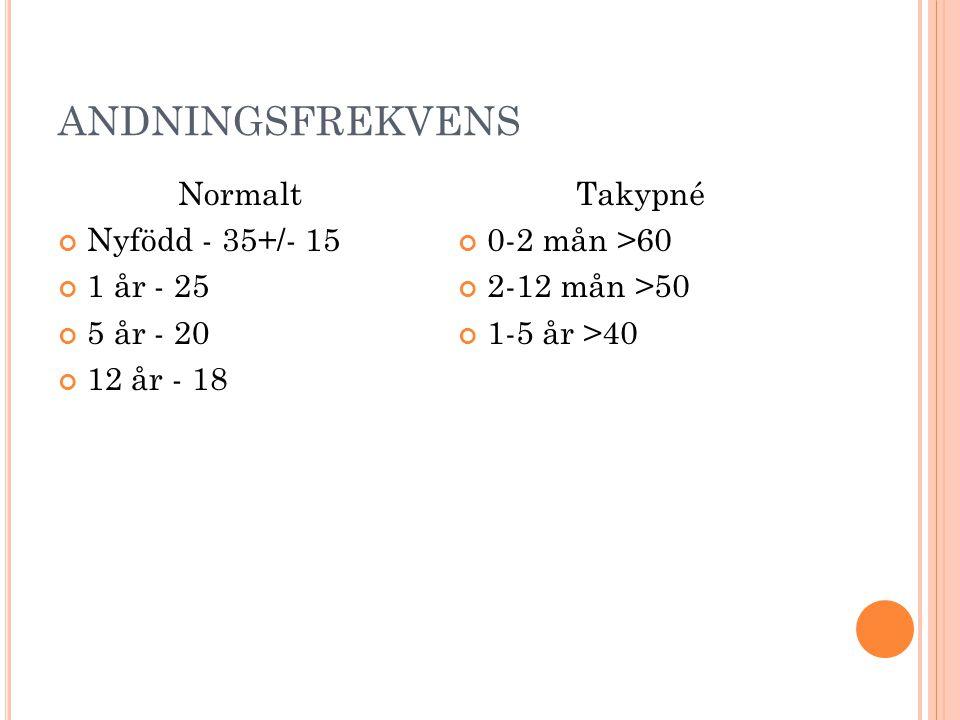 ANDNINGSFREKVENS Normalt Nyfödd - 35+/- 15 1 år - 25 5 år - 20 12 år - 18 Takypné 0-2 mån >60 2-12 mån >50 1-5 år >40