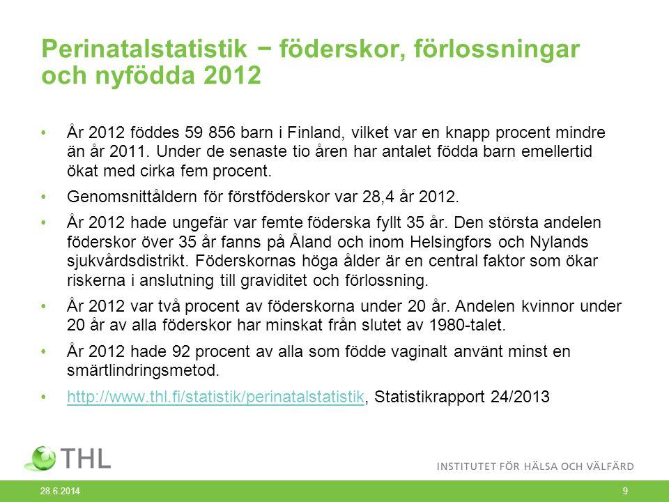 Perinatalstatistik − föderskor, förlossningar och nyfödda 2012 •År 2012 föddes 59 856 barn i Finland, vilket var en knapp procent mindre än år 2011.