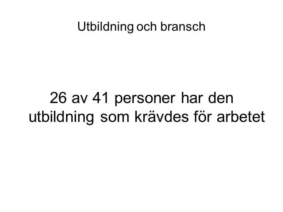Utbildning och bransch 26 av 41 personer har den utbildning som krävdes för arbetet