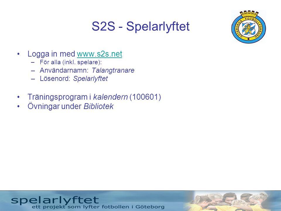 S2S - Spelarlyftet •Logga in med www.s2s.netwww.s2s.net –För alla (inkl. spelare): –Användarnamn: Talangtranare –Lösenord: Spelarlyftet •Träningsprogr