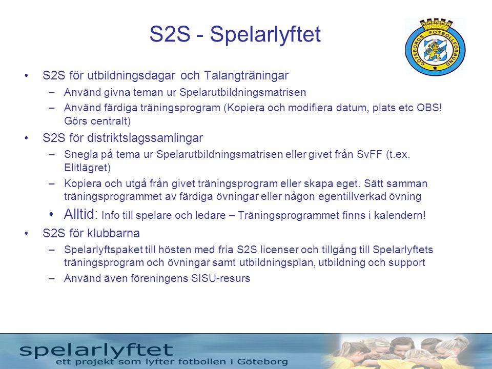 S2S - Spelarlyftet •S2S för utbildningsdagar och Talangträningar –Använd givna teman ur Spelarutbildningsmatrisen –Använd färdiga träningsprogram (Kop