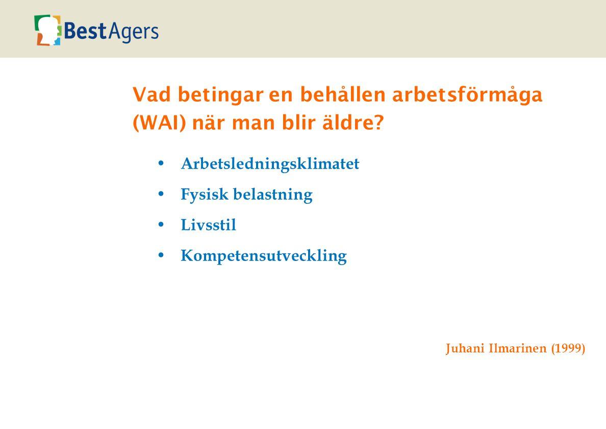Vad betingar en behållen arbetsförmåga (WAI) när man blir äldre.