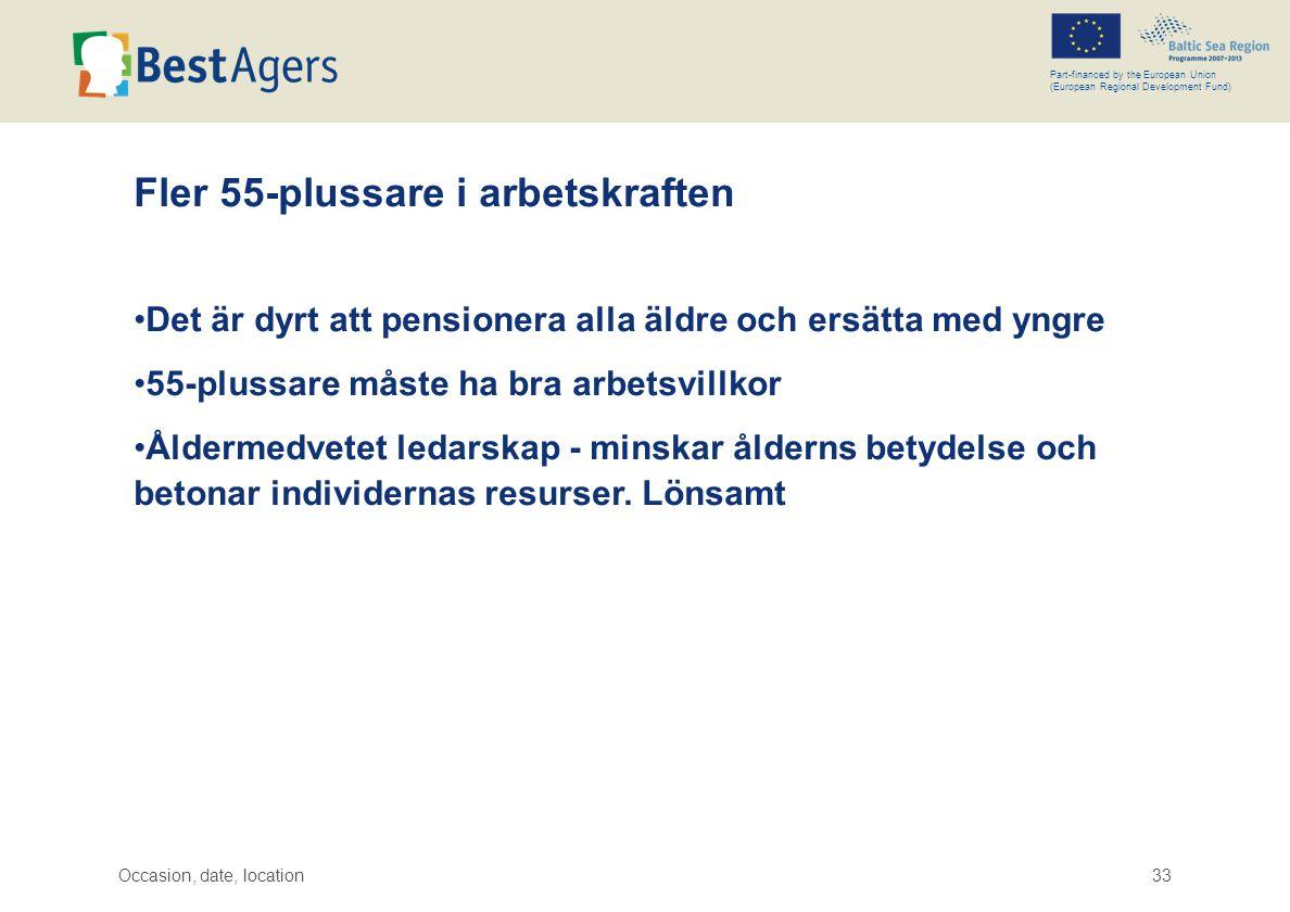 Occasion, date, location33 Part-financed by the European Union (European Regional Development Fund) Fler 55-plussare i arbetskraften •Det är dyrt att pensionera alla äldre och ersätta med yngre •55-plussare måste ha bra arbetsvillkor •Åldermedvetet ledarskap - minskar ålderns betydelse och betonar individernas resurser.