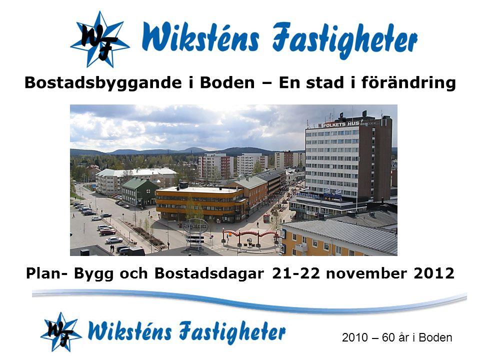 2010 – 60 år i Boden Bostadsbyggande i Boden – En stad i förändring Plan- Bygg och Bostadsdagar 21-22 november 2012