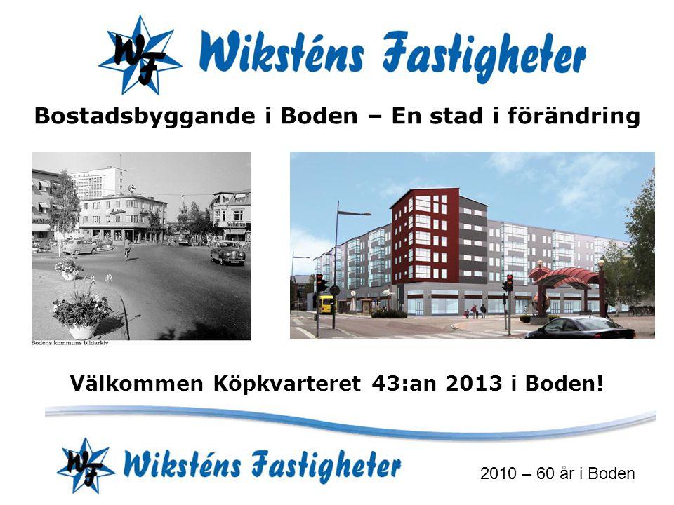 2010 – 60 år i Boden Bostadsbyggande i Boden – En stad i förändring Välkommen Köpkvarteret 43:an 2013 i Boden!