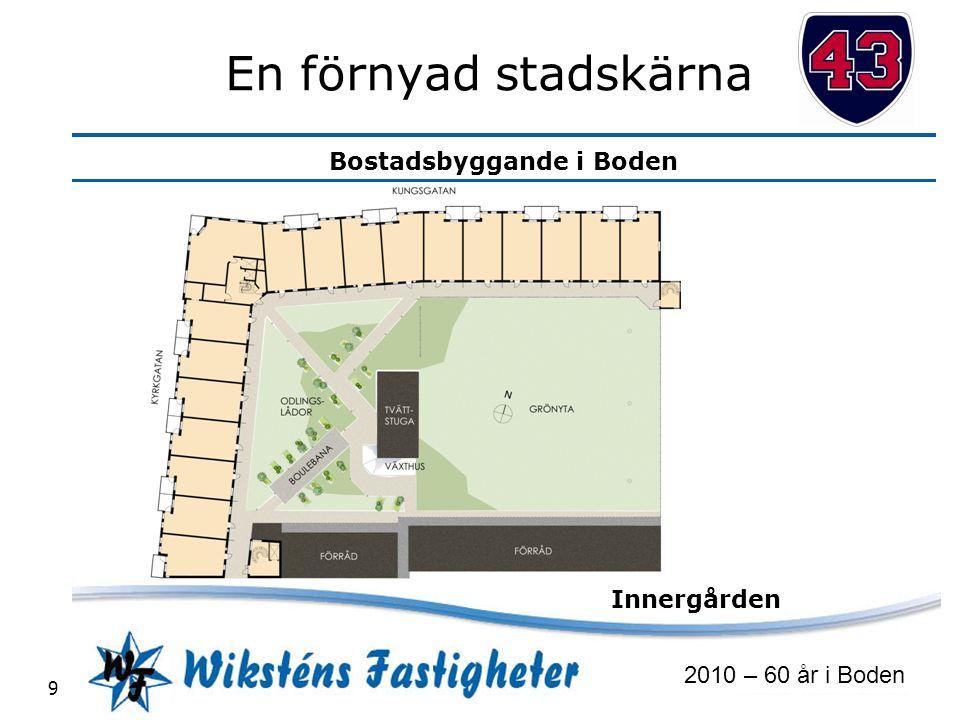 Bostadsbyggande i Boden 2010 – 60 år i Boden 10 En förnyad stadskärna 72 lägenheter, butiker, restaurang och gym KLART 2013