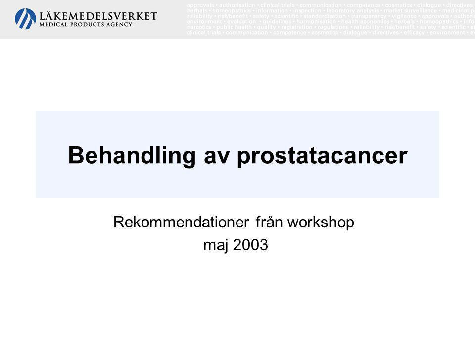 Rekommendationer från workshop maj 2003 Epidemiologi •Den vanligaste cancerformen hos män i Norden, •Fördubblad prevalens i Sverige de senaste 15 åren, •Ökad diagnostisk aktivitet, framförallt blodprovet prostataspecifikt antigen (PSA), •Ovanlig cancerform före 50 års ålder, •5% av dödsfallen bland män i Sverige orsakas av prostatacancer.