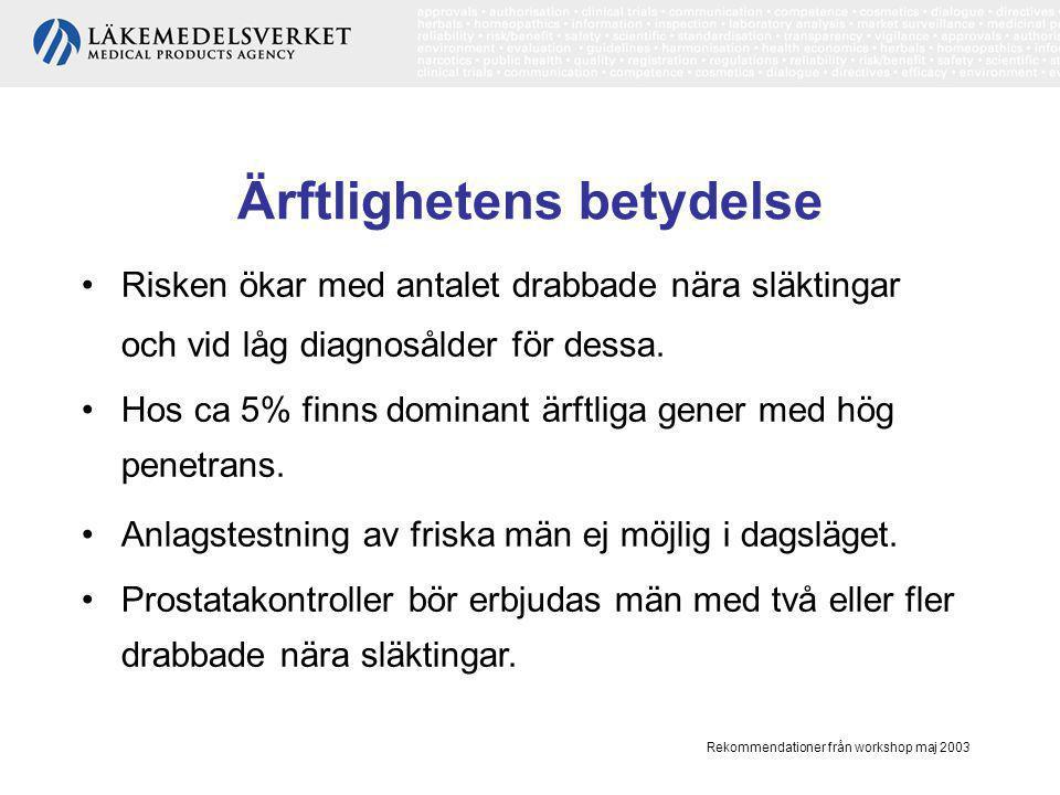 Rekommendationer från workshop maj 2003 Riktlinjer gällande prostatakontroller för ärftlig prostatacancer •Målgrupp: män med två eller fler drabbade nära släktingar, varav minst en före 75 års ålder.