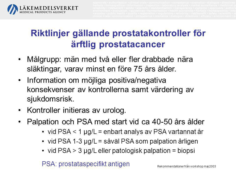 Rekommendationer från workshop maj 2003 Uppföljning •Regelbundna årliga kontroller med PSA i minst 10 år efter kurativt syftande behandling.