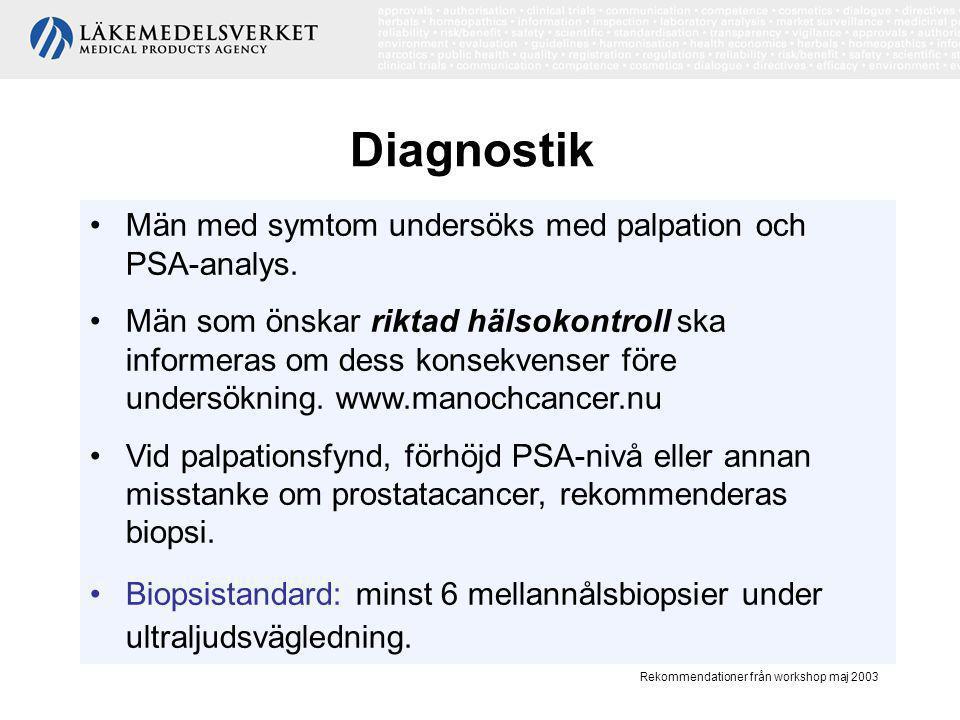 Rekommendationer från workshop maj 2003 Prostataspecifikt antigen (PSA) •Tumörmarkör, •Mycket lågt värde (< 1) indikerar liten risk för prostatacancer sannolikt under lång tid, •Högt värde (> 100) indikerar sannolikt metastaserande sjukdom, •Förhöjd PSA nivå: > 4 µg/L eller > 3 µg/L + patologisk kvot mellan fritt och totalt PSA.