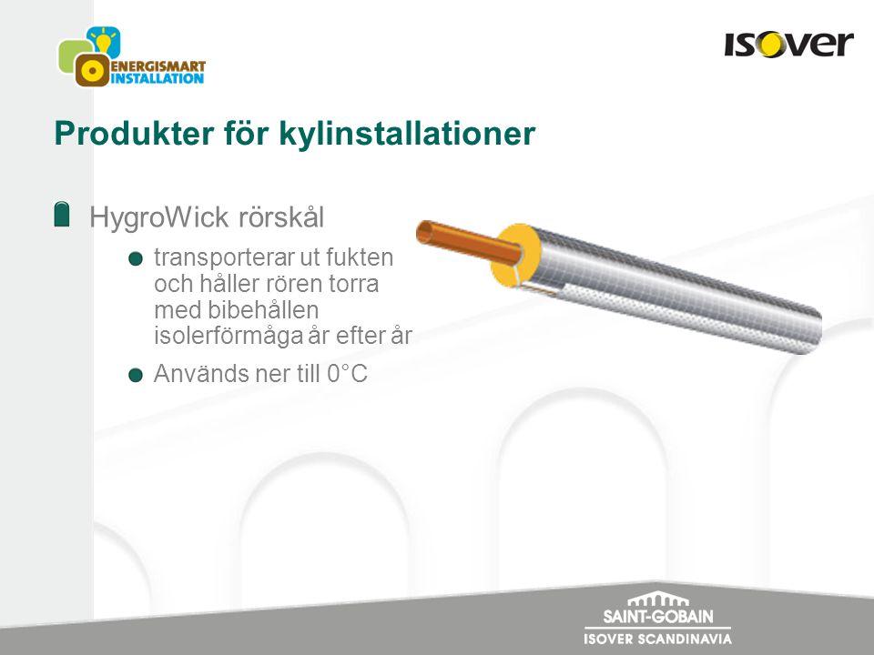 Produkter för kylinstallationer HygroWick rörskål transporterar ut fukten och håller rören torra med bibehållen isolerförmåga år efter år Används ner till 0°C