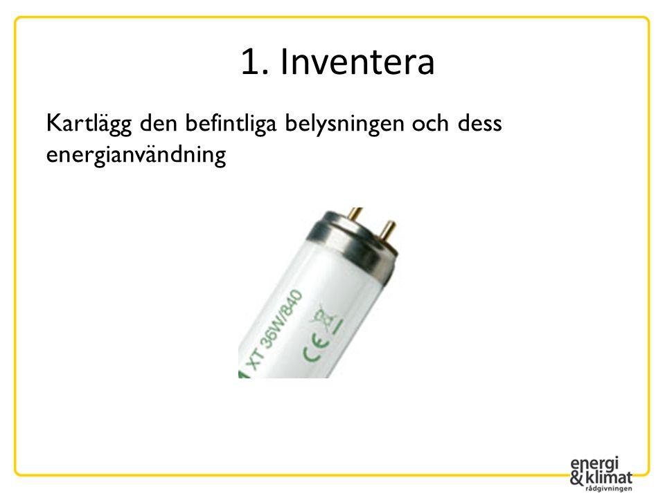 Kartlägg den befintliga belysningen och dess energianvändning 1. Inventera