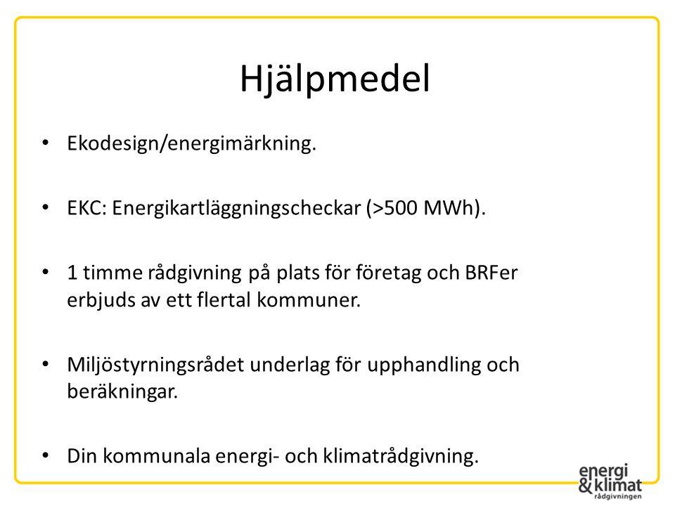 • Ekodesign/energimärkning. • EKC: Energikartläggningscheckar (>500 MWh). • 1 timme rådgivning på plats för företag och BRFer erbjuds av ett flertal k