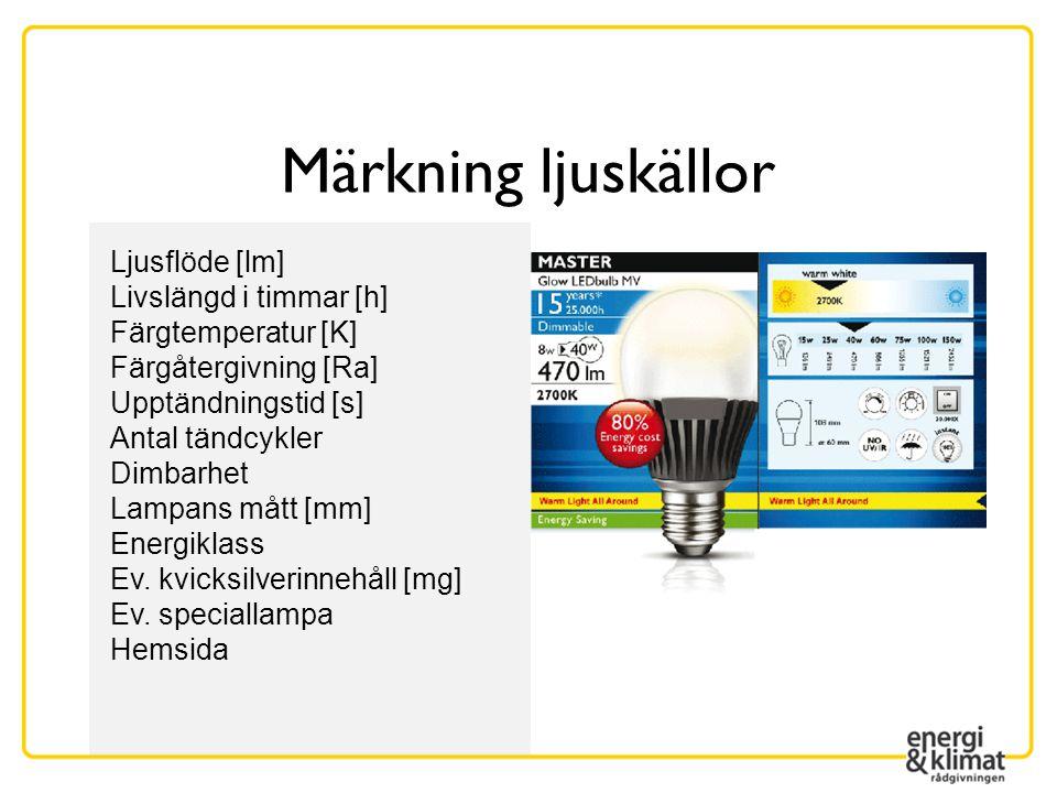 Märkning ljuskällor Ljusflöde [lm] Livslängd i timmar [h] Färgtemperatur [K] Färgåtergivning [Ra] Upptändningstid [s] Antal tändcykler Dimbarhet Lampa