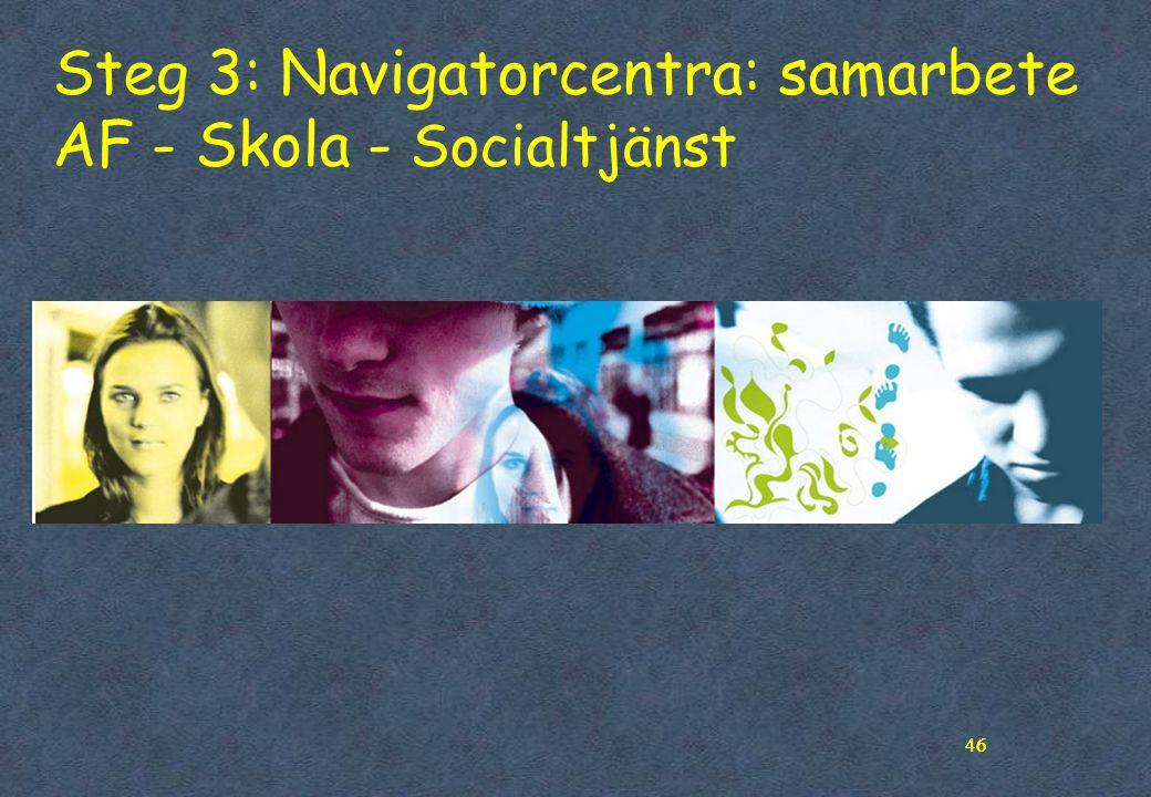 46 Steg 3: Navigatorcentra: samarbete AF - Skola - Socialtjänst 46