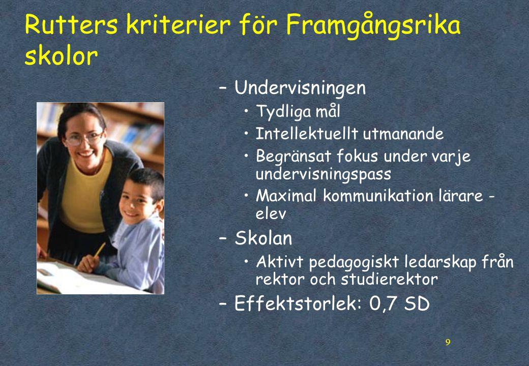 9 Rutters kriterier för Framgångsrika skolor –Undervisningen •Tydliga mål •Intellektuellt utmanande •Begränsat fokus under varje undervisningspass •Ma