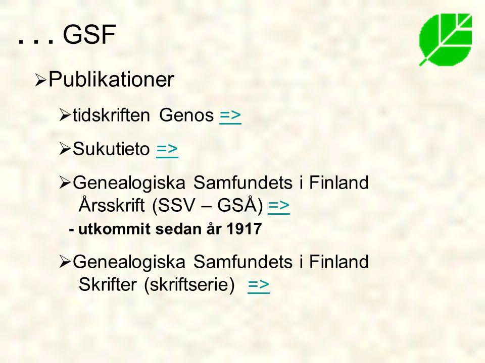  Publikationer  tidskriften Genos =>=>  Sukutieto =>=>  Genealogiska Samfundets i Finland Årsskrift (SSV – GSÅ) => - utkommit sedan år 1917=>  Genealogiska Samfundets i Finland Skrifter (skriftserie) =>=>...