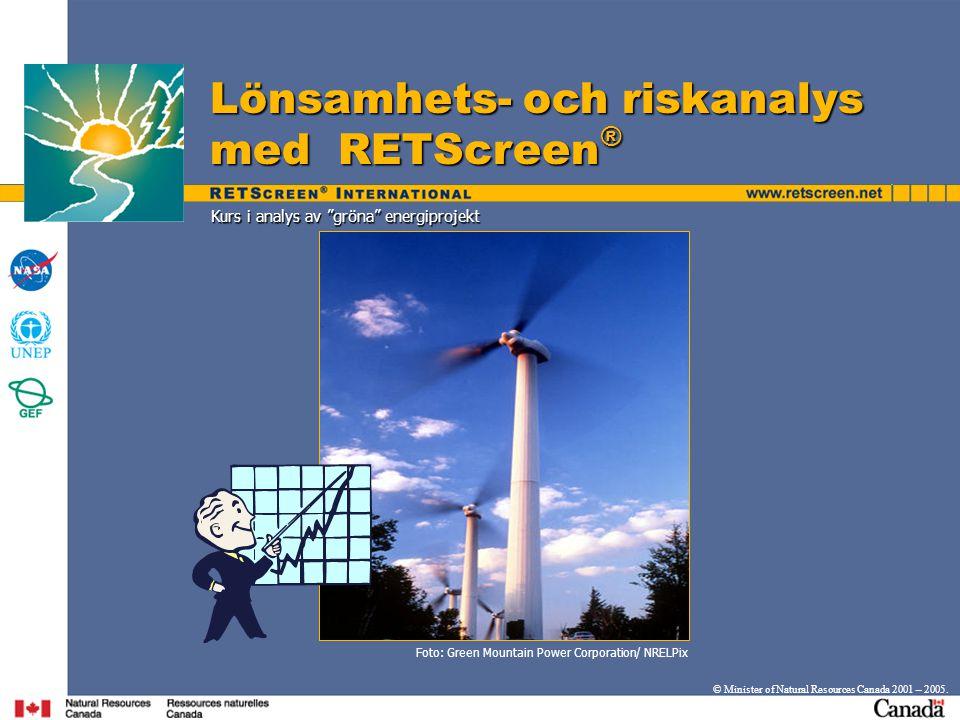 Frågor? www.retscreen.net www.retscreen.net © Minister of Natural Resources Canada 2001 – 2005.