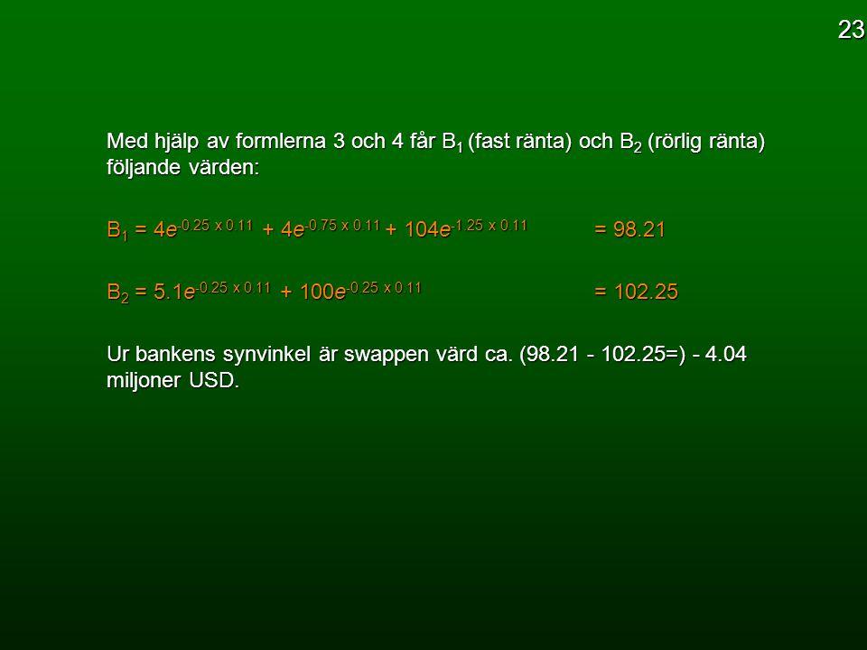 Med hjälp av formlerna 3 och 4 får B 1 (fast ränta) och B 2 (rörlig ränta) följande värden: B 1 = 4e -0.25 x 0.11 + 4e -0.75 x 0.11 + 104e -1.25 x 0.1