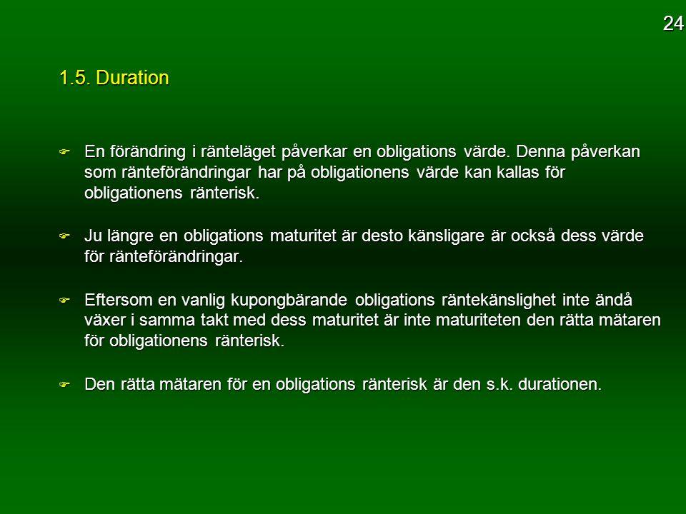 1.5. Duration F En förändring i ränteläget påverkar en obligations värde. Denna påverkan som ränteförändringar har på obligationens värde kan kallas f