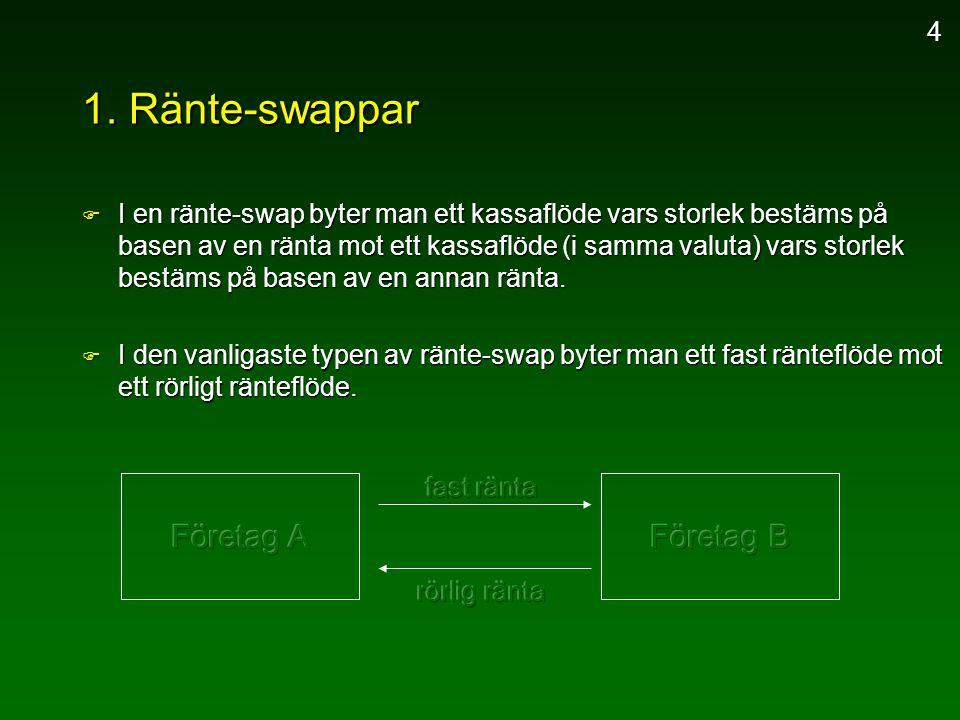 1. Ränte-swappar F I en ränte-swap byter man ett kassaflöde vars storlek bestäms på basen av en ränta mot ett kassaflöde (i samma valuta) vars storlek