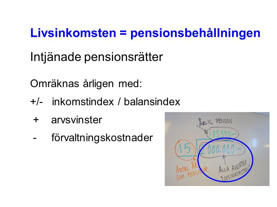 Livsinkomsten = pensionsbehållningen Intjänade pensionsrätter Omräknas årligen med: +/- inkomstindex / balansindex + arvsvinster - förvaltningskostnad