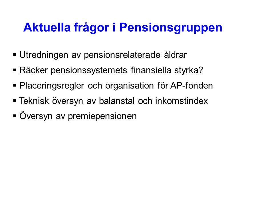 Aktuella frågor i Pensionsgruppen  Utredningen av pensionsrelaterade åldrar  Räcker pensionssystemets finansiella styrka?  Placeringsregler och org