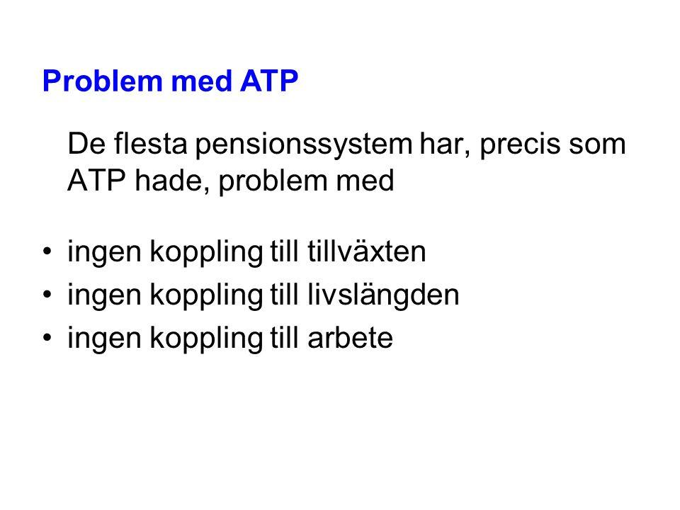 De flesta pensionssystem har, precis som ATP hade, problem med •ingen koppling till tillväxten •ingen koppling till livslängden •ingen koppling till a