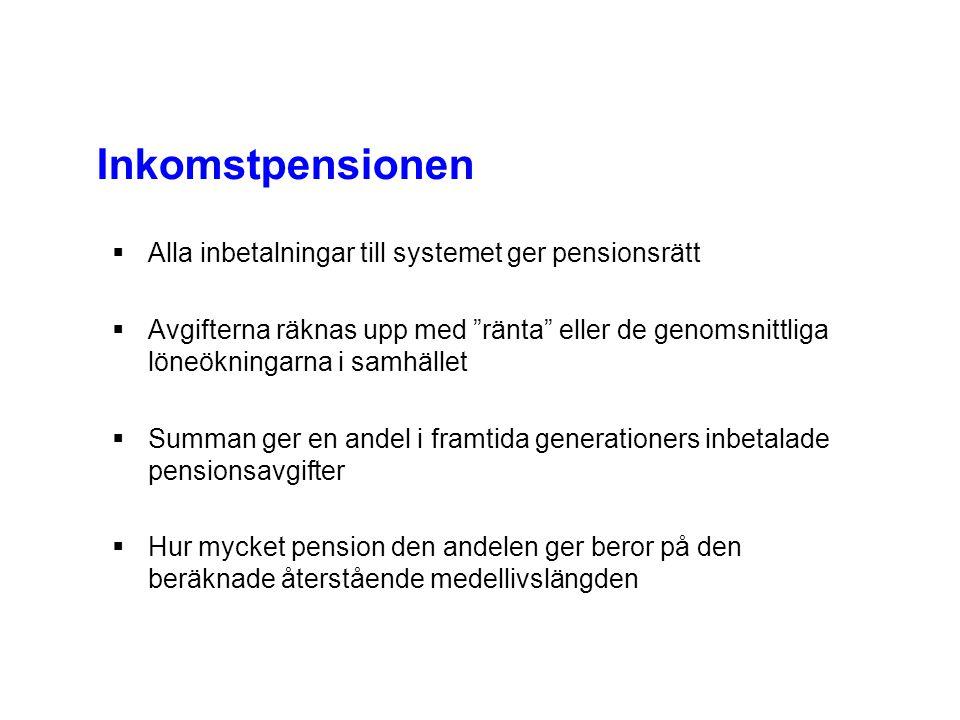 """ Alla inbetalningar till systemet ger pensionsrätt  Avgifterna räknas upp med """"ränta"""" eller de genomsnittliga löneökningarna i samhället  Summan ge"""