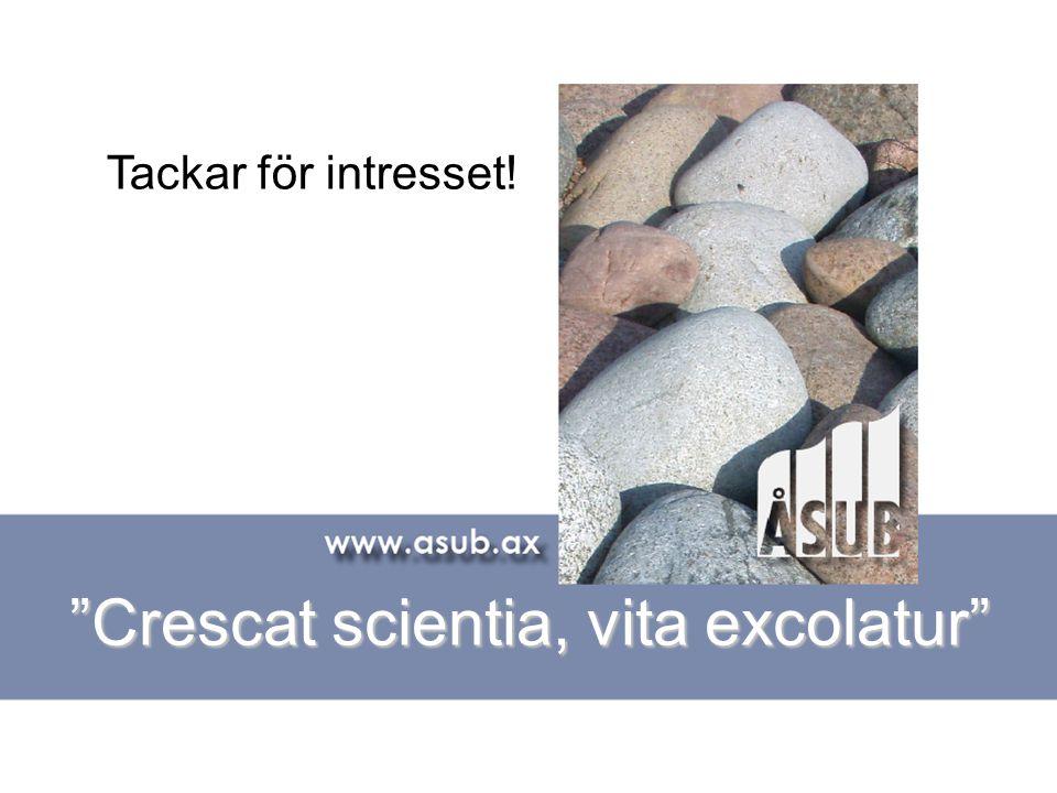 Crescat scientia, vita excolatur Tackar för intresset!