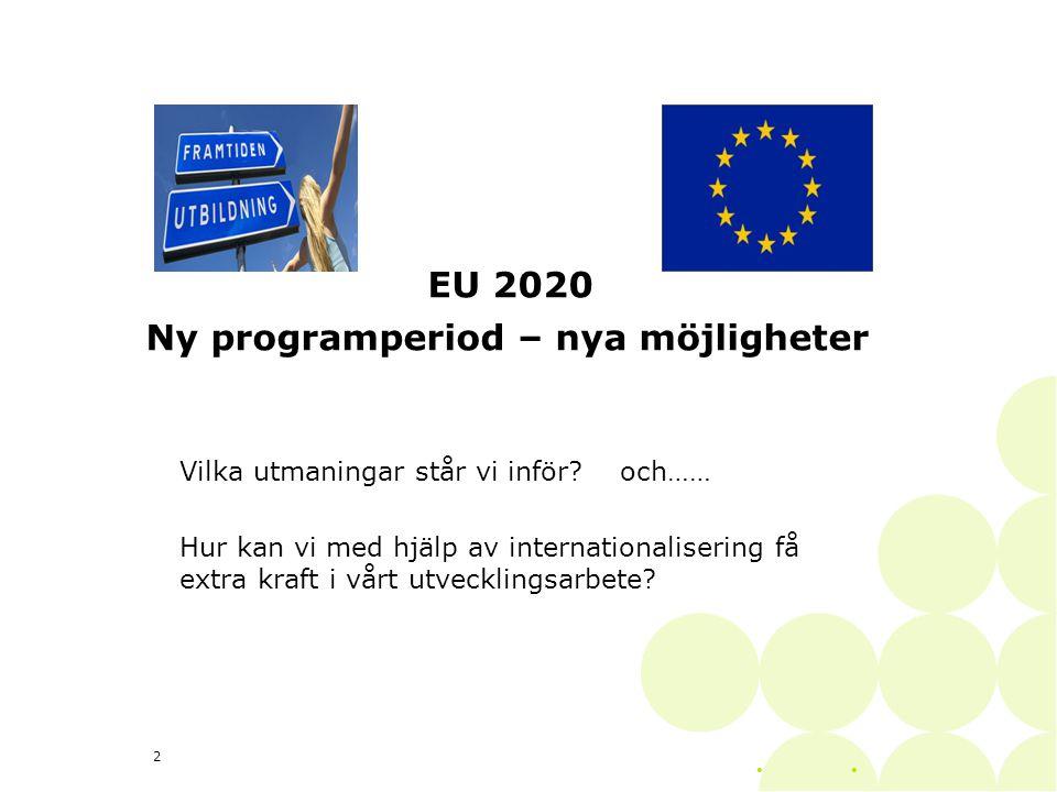 EU 2020 Ny programperiod – nya möjligheter Vilka utmaningar står vi inför.