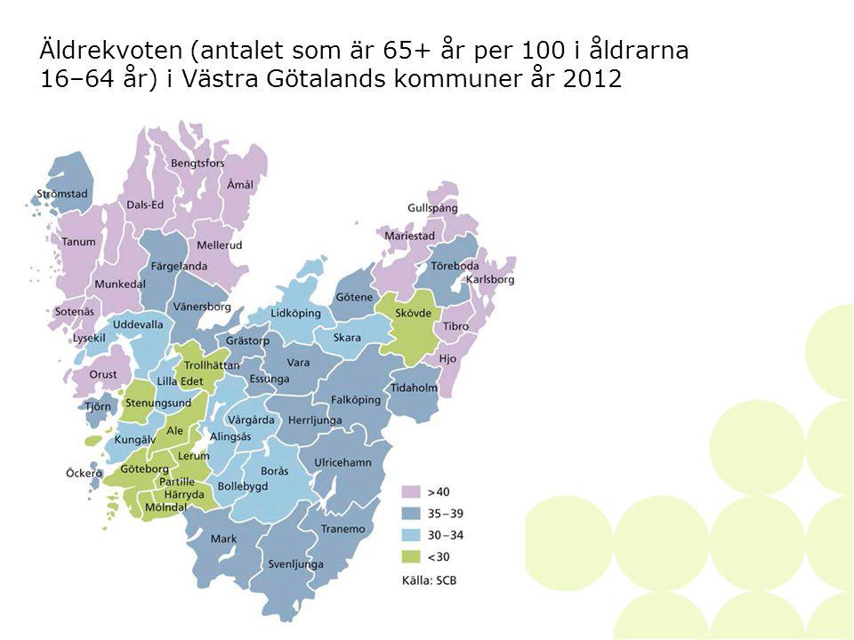2014-06-28• • SKAPAD AV41 Äldrekvoten (antalet som är 65+ år per 100 i åldrarna 16–64 år) i Västra Götalands kommuner år 2012