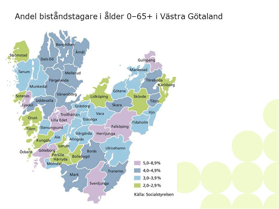 2014-06-28• • SKAPAD AV46 Andel biståndstagare i ålder 0–65+ i Västra Götaland