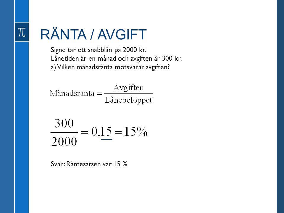 RÄNTA / AVGIFT Signe tar ett snabblån på 2000 kr. Lånetiden är en månad och avgiften är 300 kr. a) Vilken månadsränta motsvarar avgiften? Svar: Räntes