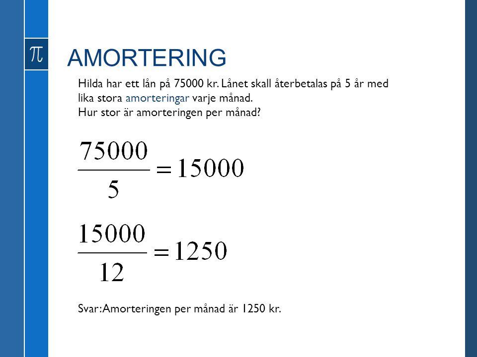 AMORTERING Hilda har ett lån på 75000 kr. Lånet skall återbetalas på 5 år med lika stora amorteringar varje månad. Hur stor är amorteringen per månad?