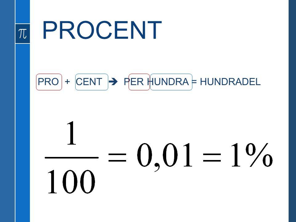 PRO + CENT  PER HUNDRA = HUNDRADEL