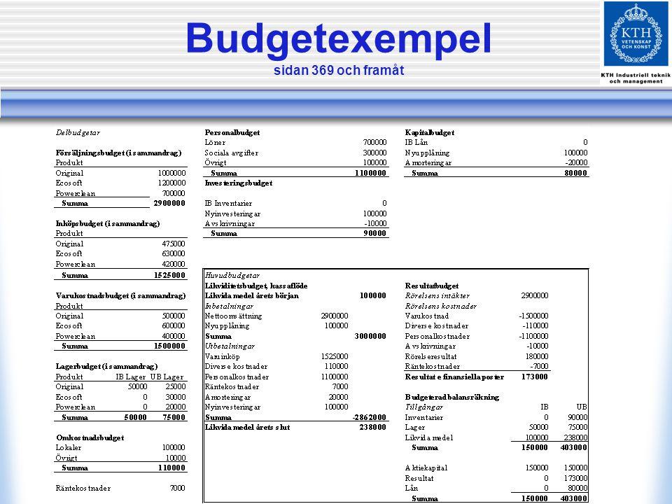 Budgetexempel sidan 369 och framåt